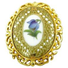 French Limoges Hand Painted Purple Violet Flower Porcelain Brooch Jean Chateau - Castel
