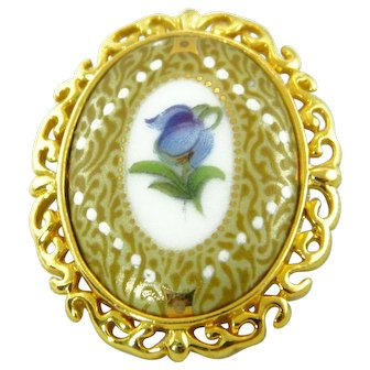 French Limoges Hand Painted Purple Violet Flower Porcelain Brooch Jean Chateau - Castel