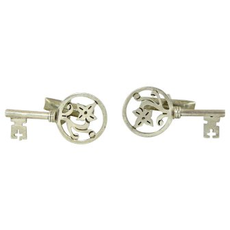 Vintage Skeleton Key Cuff Links 925 Sterling Silver Mexico High-End Sophisticated Cufflinks
