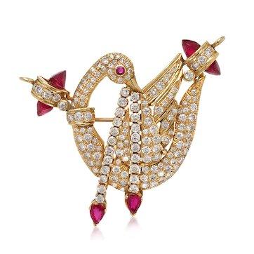 18K Gold Diamond  Ruby Swan Brooch/Pendant