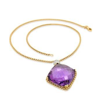 David Yurman, Amethyst Pendant 18K Gold Necklace
