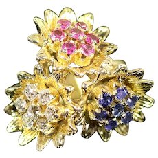 14 Karat Gold Ring with Three Sunflowers, each with Ruby, Sapphire and Diamond
