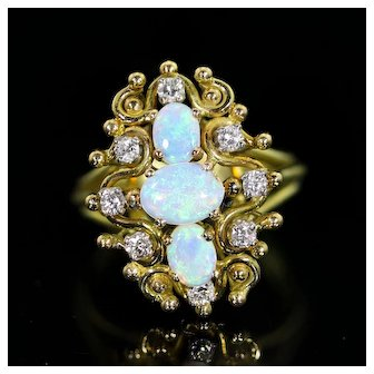 14 Karat Gold Ring with Three Opals, and Diamond
