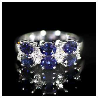 Diamond Ring with Six Oval-Faceted Blue Sapphires