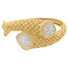 18K Gold Bangle with Two Panels of Diamonds