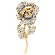 14K Gold Diamond Rose Pins, Shorter Stem