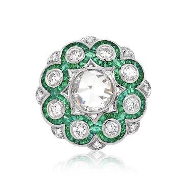 Platinum, Diamond and Emerald Ring