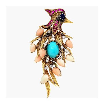 18K Gold Ruby Turquoise Lapis Lazuli Coral and Diamond Woodpecker Brooch