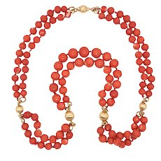 Long Double Strand Coral and 18K Gold Bead Necklace