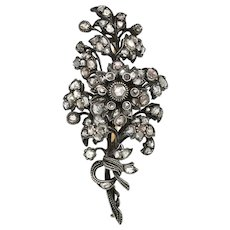 Rose-cut Diamond Flower Brooch
