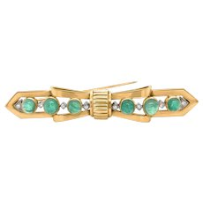 Tiffany 18K Gold  Cabochon Emerald and Diamond Bar-Pin Brooch