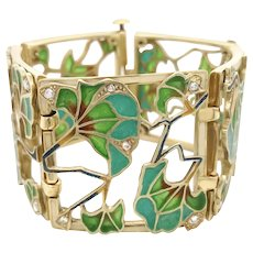 Art Nouveau Gold, Diamond and Plique-a-Jour Enamel Bracelet