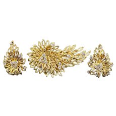 A Yellow Gold and Diamond Demi Parure