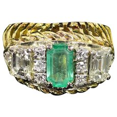 14 Karat Gold Ring with Emerald and Diamond