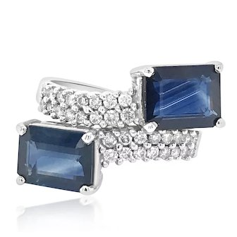 Diamond Ring with Two Rectangle Sapphires