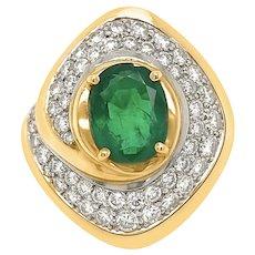 18K Gold Oval Emerald Diamond Ring