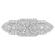Art Deco 7.0-Carat Diamond Double-clip Brooch with Geometric Shape