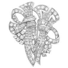 Art Deco Flora Motif Diamond Double-Clip Brooch