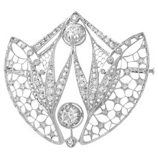 Art Deco Tulip-motif Diamond Brooch