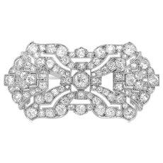 Art Deco Diamond Brooch with Geometric Shape