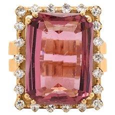 18K Gold Tourmaline Diamond Ring