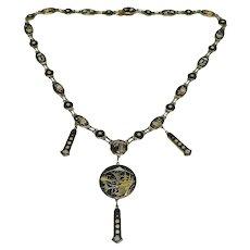 Vintage 1920s Art Deco Gold Damascene Shakudo Japanese Necklace