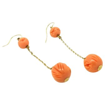 Vintage Art Deco 1920s Bakelite 9ct Gold Drop Earrings