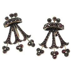 Antique Victorian Garnet Fan Gold Screw Earrings