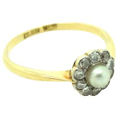 Antique Edwardian Diamond & Pearl 18ct Gold Ring