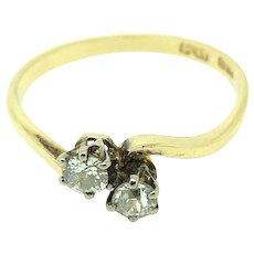 Antique Edwardian Toi Et Moi 18ct Gold Diamond Ring
