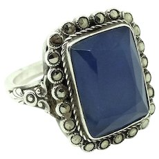 Vintage 1920s Blue Chalcedony Sterling Silver Ring