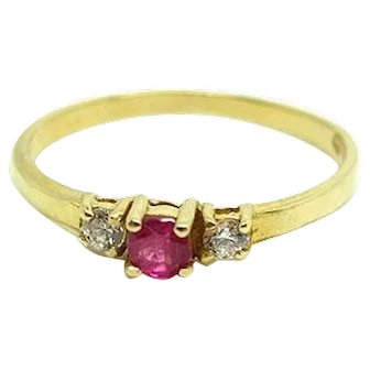 Vintage 1980s Ruby and Diamond 18ct Gold Ring