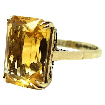 Vintage 1965 Citrine 9ct Gold Gemstone Ring