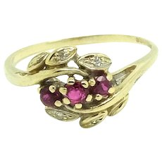 Vintage 1980s Diamond and Ruby 9ct Gold Ring