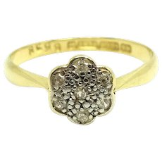Antique Edwardian Diamond 18ct Gold Daisy Ring