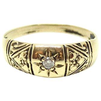 Vintage 1980s 9ct Diamond Gypsy 9ct Gold Ring