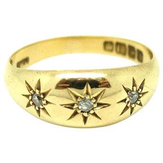 Vintage 1940s Diamond & 18ct Yellow Gold Gypsy Ring