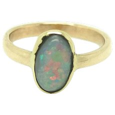 Antique Edwardian 9ct Rose Gold Opal Pinky Ring