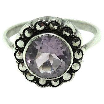 Vintage Amethyst Silver Marcasite Ring