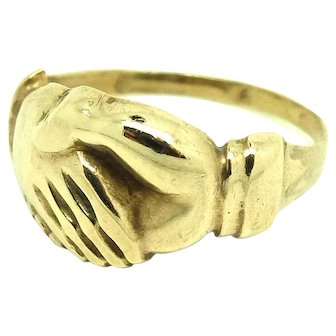 Antique Victorian Clasped Hands Ring