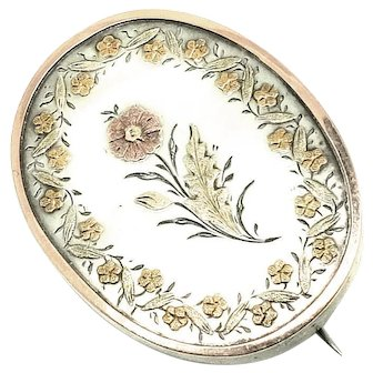 Antique Victorian Silver Floral Oval Brooch