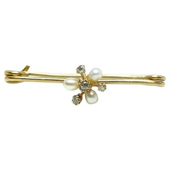 Antique Victorian 9ct Gold Diamond and Pearl Bar Brooch