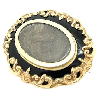 Antique Victorian Gothic Black Enamel and Gold Plated Mourning Brooch