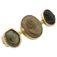 Antique Victorian Lava Cameo Bar 9ct Gold Brooch