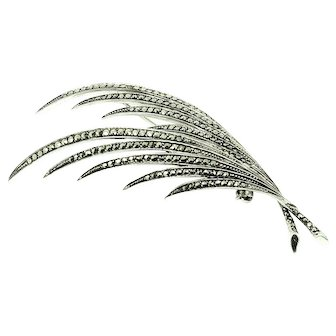 Vintage 1960s Marcasite Feather Spray Silver Brooch