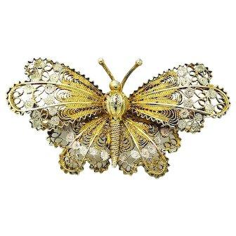 Antique Victorian Filigree Moth Butterfly Silver Gilt Brooch