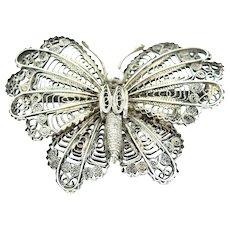 Antique Victorian Filigree Moth Butterfly Silver Brooch Pin