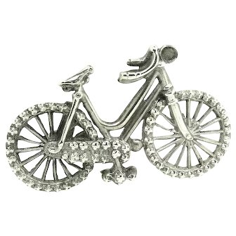 Antique Victorian 1897 Sterling Silver Bicycle Brooch