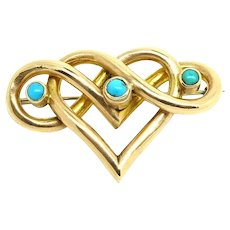 Antique Victorian Gold Turquoise Heart Bar Brooch