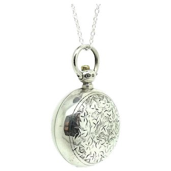 Antique Victorian Ivy Silver Sovereign Case Locket Necklace